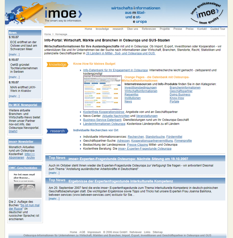imoe 2007 - web catalogue Eastern Europe online